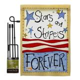 Breeze Decor Stars & Stripes Americana Patriotic Impressions 2-Sided Polyester 19 x 13 in. Flag Set in Brown/Gray, Size 18.5 H x 13.0 W x 1.0 D in