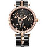 BUREI Elegant Women Quartz Watch Analog Display Date Calendar Crystal Markers Bezel and Two Tones Ceramic Watch Band