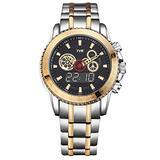 Military Watch TVG Luxury Fashion Brand Watch Men's Steel Belt Calendar Week Multi-Function Dual Time Zone Watch (Gold)