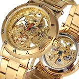 All Golden Hollow Out Automatic-self-Winding Mechanical Watch for Male, Classic Stainless Steel Skeleton Mechanical Wristwatch for Men, Practical Rome Digital Dial Mechanical Watches for Friends