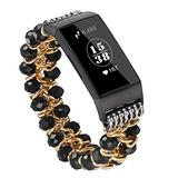 fastgo Compatible for Fitbit Charge 3 4 Bands, Handmade Elastic Beaded Jewelry Glitter Bracelet Feminine Band Compatible for Fitbit Charge Replacement Wrist Band for Women and Girls (Crystal Black)
