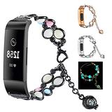 WONMILLE Compatible with Fitbit Charge 3 Bands Bracelet Adjustable Wristband Handmade Night Luminous Pearl for Charge 3 Bracelet with Essential Oil/Perfume Storage Pendant for Women/Girls (Black)