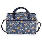 Signare Tapestry Laptop bag 15.6 computer messenger bag briefcase for Women with Jane Austen Blue Design (CPU-AUST)