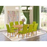 East West Furniture 9Pc Dinette Set Includes a 59/76.4 Inch Oval Dining Table with Butterfly Leaf and 8 Parson Chair with Oak Leg and PU Leather Color Autumn Green