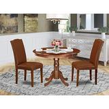 3Pc Rounded 42 Inch Dining Room Table And 2 Parson Chair With Mahogany Leg And Brown Flaux Leather