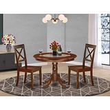 East West Furniture 3-Piece Kitchen Table and Chairs Set Included a Round Dining Room Table and 2 Dining Chairs - Solid Wood Kitchen Chairs Seat & X-back - Mahogany Finish