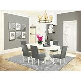 7 Pc Dining Room Set Dining Table With Self Storing Butterfly Leaf And Six Parson Chair With Linen White Finish Leg And Linen Fabric- Gray Color