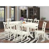 9 Pc Dining Room Set For 8 Dining Table With Leaf And 8 Wood Seat Kitchen Dining Chairs