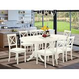 9 Pc Dining-Room Set For 8 Dining Table With Self Storing Butterfly Leaf And 8 Faux Leather Seat Dining Chairs