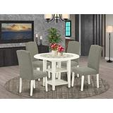 5Pc Round 20/42 Inch Dining Room Table With two 11-Inch-Inch Drop Leaves And Four Parson Chair With Linen White Leg And Linen Fabric Dark Shitake