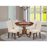 East West Furniture 5-Piece Round Set Included Table and 4 Modern Dining Cream LinenFabric Kitchen Chairs Seat & Full Back-Mahogany Finish
