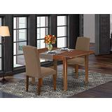 """3Pc Rectangular 42/54"""" Dining Room Table With 12 In Butterfly Leaf And A Pair Of Parson Chair With Mahogany Leg And Linen Fabric Dark Coffee"""