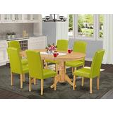 East West Furniture 7Pc Dinette Set Includes a 59/76.4 Inch Oval Dining Table with Butterfly Leaf and 6 Parson Chair with Oak Leg and PU Leather Color Autumn Green
