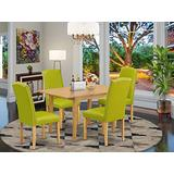 "5Pc Rectangle 42/53.5"" Dinette Table With 12 In Leaf And Four Parson Chair With Oak Leg And Pu Leather Color Autumn Green"