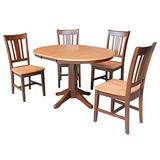 """International Concepts 36"""" Round Extension Dining Table With 4 Rta Chairs, Cinnamon/Espresso"""