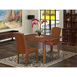 """3Pc Rectangular 42/54"""" Dining Room Table With 12 In Butterfly Leaf And A Pair Of Parson Chair With Mahogany Leg And Brown Flaux Leather"""