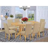 9 Pc Kitchen Set For 8 Dining Table With Leaf And Eight Parson Chair With Oak Finish Leg And Linen Fabric- Dark Khaki Color