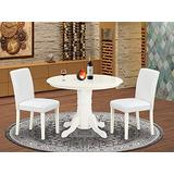 3Pc Round 42 Inch Dining Room Table And A Pair Of Parson Chair With Linen White Leg And Pu Leather Color White