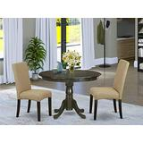 East West Furniture 3-Piece Room Set Included a Pedestal Table and 2 Kitchen Brown Linen Fabric Parson Dining Chair Seat & Full Back-Cappuccino Finish
