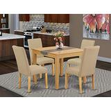 5Pc Square 36 Inch Table And Four Parson Chair With Oak Finish Leg And Linen Fabric- Dark Khaki Color
