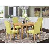"5Pc Rectangle 42/53.5"" Dinette Table With 12 In Leaf And Four Parson Chair With Oak Leg And Linen Fabric Limelight"