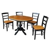 """International Concepts 36"""" Round Extension Dining Table With 4 Madrid Chairs, Black/Cherry"""