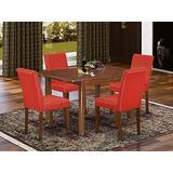 """5Pc Rectangular 42/54"""" Dining Room Table With 12 In Self Storing Butterfly Leaf And Four Parson Chair With Mahogany Leg And Pu Leather Color Firebrick Red"""