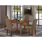 """5Pc Rectangular 42/54"""" Dining Room Table With 12 In Self Storing Butterfly Leaf And Four Parson Chair With Mahogany Leg And Linen Fabric Dark Coffee"""