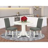 3Pc Round 42 Inch Dining Room Table And A Pair Of Parson Chair With Linen White Finish Leg And Linen Fabric- Gray Color