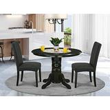 3Pc Round 42 Inch Dining Room Table And A Pair Of Parson Chair With Black Finish Leg And Linen Fabric- Black Color
