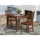 """3Pc Square 36"""" Dining Table And A Pair Of Wood Seat Kitchen Chairs"""