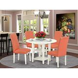 5Pc Round 20/42 Inch Dining Room Table With two 11-Inch-Inch Drop Leaves And Four Parson Chair With Linen White Leg And Pu Leather Color Pink Flamingo