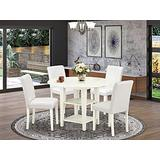 East West Furniture 5Pc Dinette Set Includes a Round 20/42 Inch Dining Room Table with Drop Leaves and 4 Parson Chair with Linen Leg and PU Leather Color White