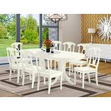 9 Pc Dining-Room Set For 8 Dining Table With Self Storing Leaf And 8 Wood Seat Kitchen Dining Chairs