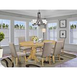 7 Pc Dining Room Set Dining Table With Self Storing Butterfly Leaf And Six Parson Chair With Oak Finish Leg And Linen Fabric- Dark Khaki Color