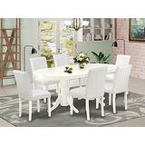 7 Pc Dining Room Set Dining Table With Self Storing Butterfly Leaf And Six Parson Chair With Linen White Leg And Pu Leather Color White