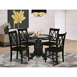 East West Furniture 5Pc Dinette Set Includes a Round 42 Inch Family Table and 4 Wood Seat Dining Chairs, Black Finish