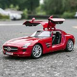 LMEI-Cars 1:18 Mercedes-Benz SLS AMG GT Sports Car Model - Classic Simulation Alloy Die-Casting Car Model, Toy Static Model Collection Gift Simulation Micro-Vehicle,Red