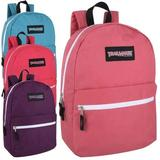 24 Pack- Classic 17 Inch Backpacks in Bulk Wholesale Back Packs for Boys and Girls (Assorted Girls 4 Color Pack)
