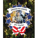 Personalized Planet Ornaments - Armed Forces 'Proud To Serve' Picture Frame Personalized Ornament