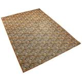 World Menagerie Muirfield Animal Print Tufted Burnt Area Rug Polyester in Orange, Size 83.0 H x 59.0 W x 0.3 D in | Wayfair