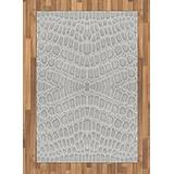Lunarable Animal Print Area Rug, Crocodile Leather Pattern in Material Fashion Theme Design Print, Flat Woven Accent Rug for Living Room Bedroom Dining Room, 4' X 5.7', Pale Grey