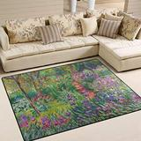 WIHVE Area Rugs Iris Garden at Giverny Monet Art Carpet Modern Square Floor Mat for Kids Home Living Dining Room Playroom Decoration 4' x 5'3
