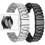 Oitom Stainless Steel Bands Compatible with Samsung Galaxy Watch 42mm /Gear Sport Women Men, Pack 2 Heavy Duty Solid Metal Strap Watch Bands with 2pcs Screen Protector(Black + Silver)