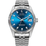 BUREI Mens Luxury Automatic Watch Dress Deep Blue Mechanical Wristwatch Date Display Silver Stainless Steel Band,Dark Blue