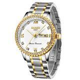 Mens Quartz Watches Waterproof Business Analog Wrist Watch for Men Women Stainless Steel Dress Clock Diamond Wristwatch, Luminous Dial, Calendar (Silver Withe 8503)…