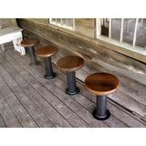 The Strong Oaks Woodshop Bolt Down Urban Industrial Pedestal Bar Stools - Bar Height Wood/Metal in Black/Brown/Red, Size 30.0 H x 14.0 W x 14.0 D in
