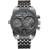 PASOY Men's Watch Retro Style Watch Black Big Dial 50MM Two Time Zone Military Antique Quartz Analog Watches Black Watch Sports Wrist Watch (Black)