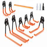 Garage Hooks Heavy Duty, Steel Garage Storage Hooks Tool Hangers for Shed Garage Wall, Shed Hooks for Garden, Bike and Bulky Items with a Carpenter Pencil 8-Pack (Black+Orange)