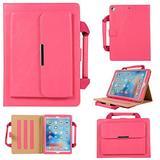 Uliking Folio Case for Apple iPad Mini 4/Mini 3/Mini 2/Mini 1 Handbag Case, Smart Multi-Angle Stand PU Leather Document Pocket Magnetic Cover with Handle Hand Strap [Auto Wake/Sleep] + Stylus, Rose